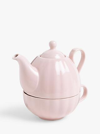 John Lewis & Partners Scalloped Tea For One Teapot, 743ml, Pink