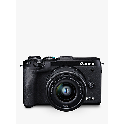Canon EOS M6 Mark II Compact System Camera with EF-M 15-45mm IS STM Lens, 4K Ultra HD, 32.5MP, Wi-Fi, Bluetooth, 3 LCD Tiltable Touch Screen, Black