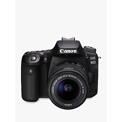 Canon EOS 90D Digital SLR Camera with 18-55mm Lens, 4K Ultra HD, 32.5MP, Wi-Fi, Bluetooth, Optical Viewfinder, 3 Vari-Angle Touchscreen