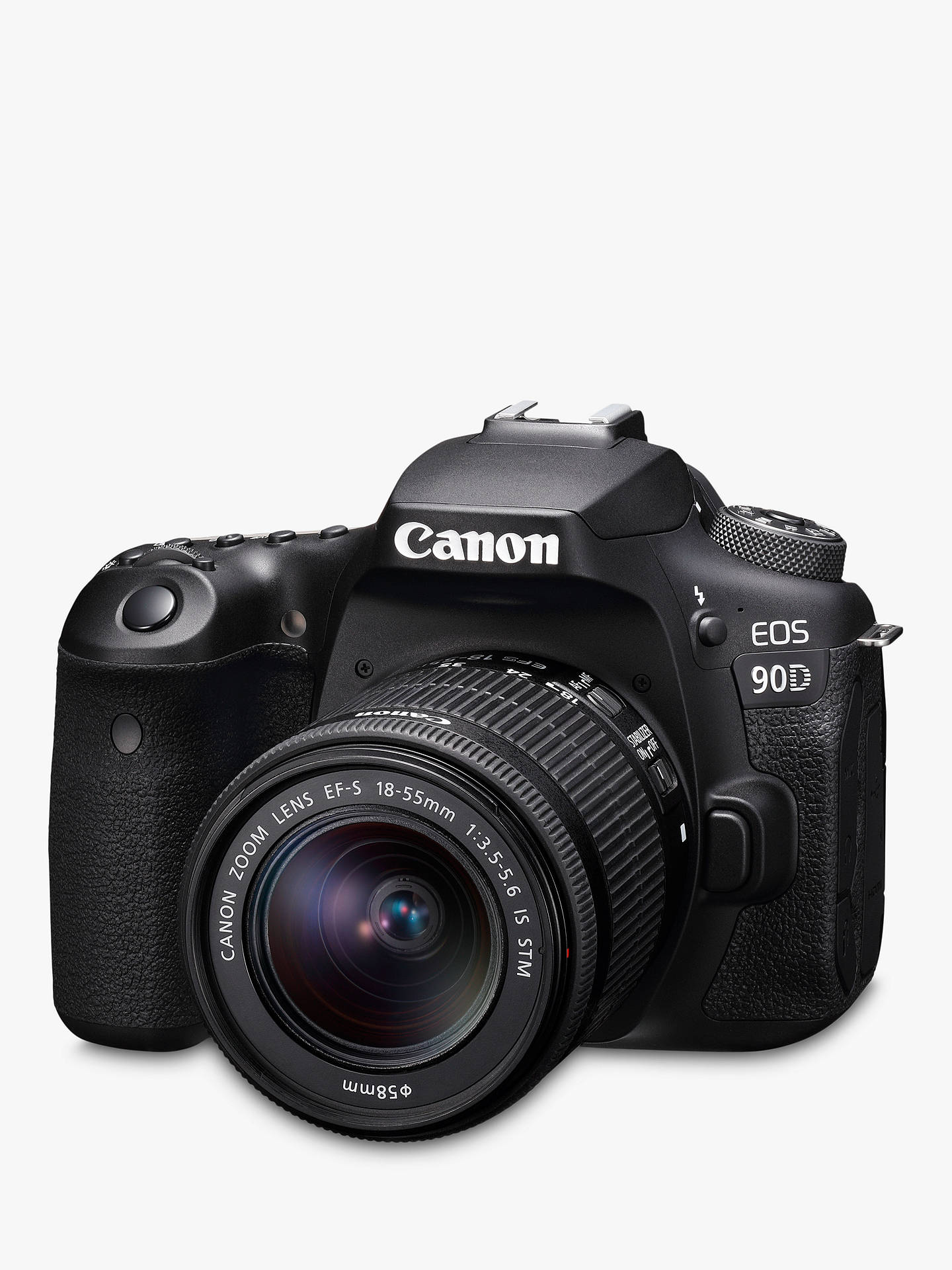 "Buy Canon EOS 90D Digital SLR Camera with 18-55mm Lens, 4K Ultra HD, 32.5MP, Wi-Fi, Bluetooth, Optical Viewfinder, 3"" Vari-Angle Touchscreen Online at johnlewis.com"