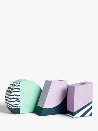 John Lewis & Partners Geometric Concrete Vases, Set of 3