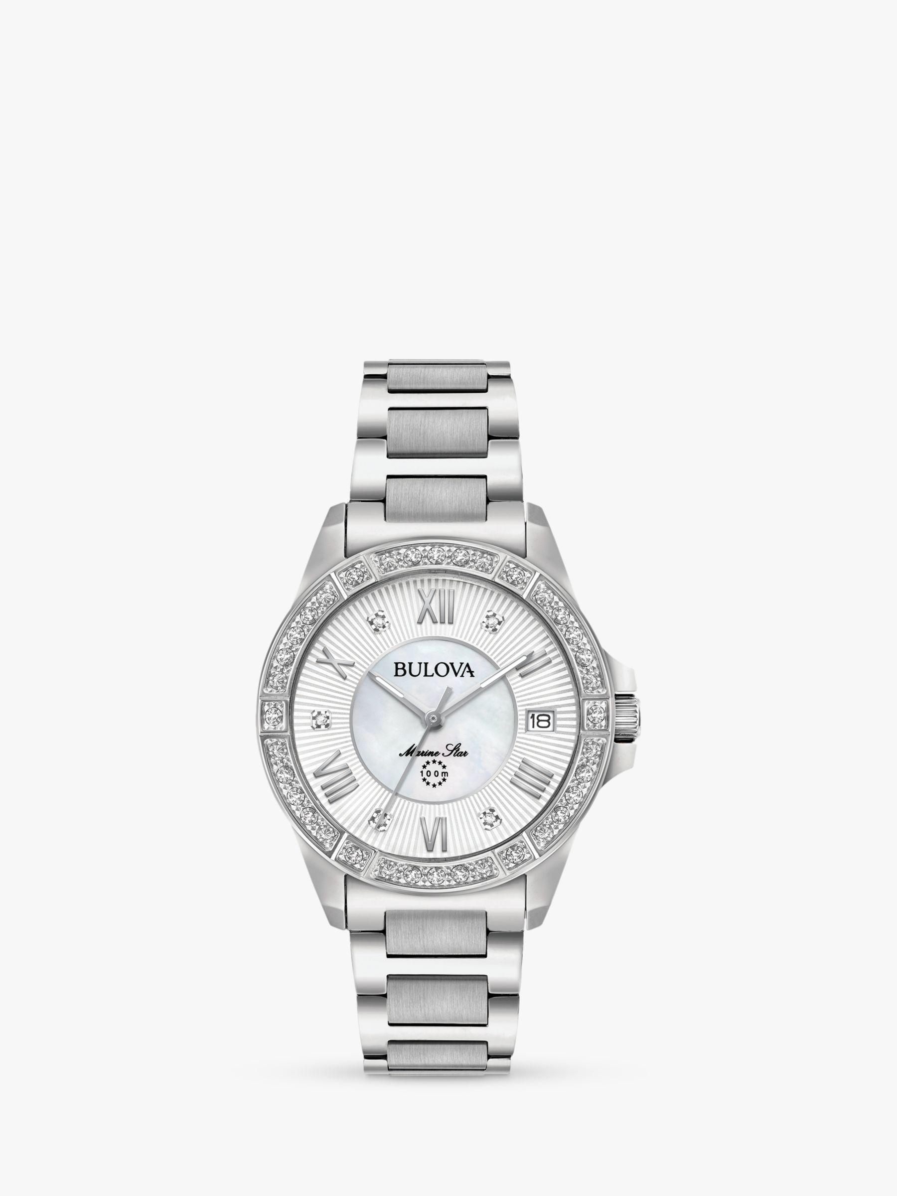 Bulova Bulova 96R232 Women's Marine Star Diamond Date Bracelet Strap Watch, Silver