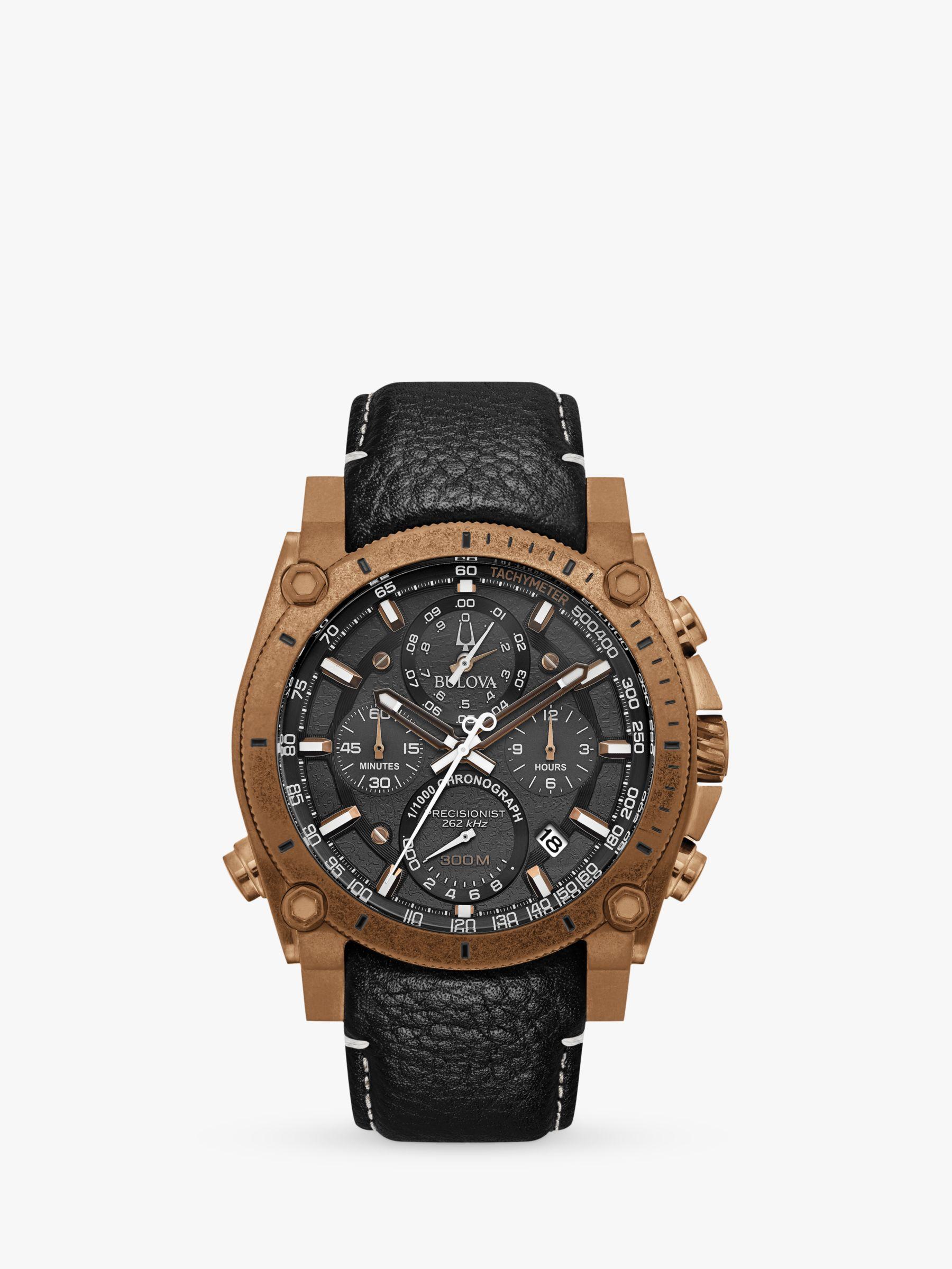 Bulova Bulova 97B188 Men's Precisionist Chronograph Date Leather Strap Watch, Black