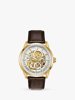 Bulova 97A138 Men's Sutton Skeleton Automatic Leather Strap Watch, Brown/Silver