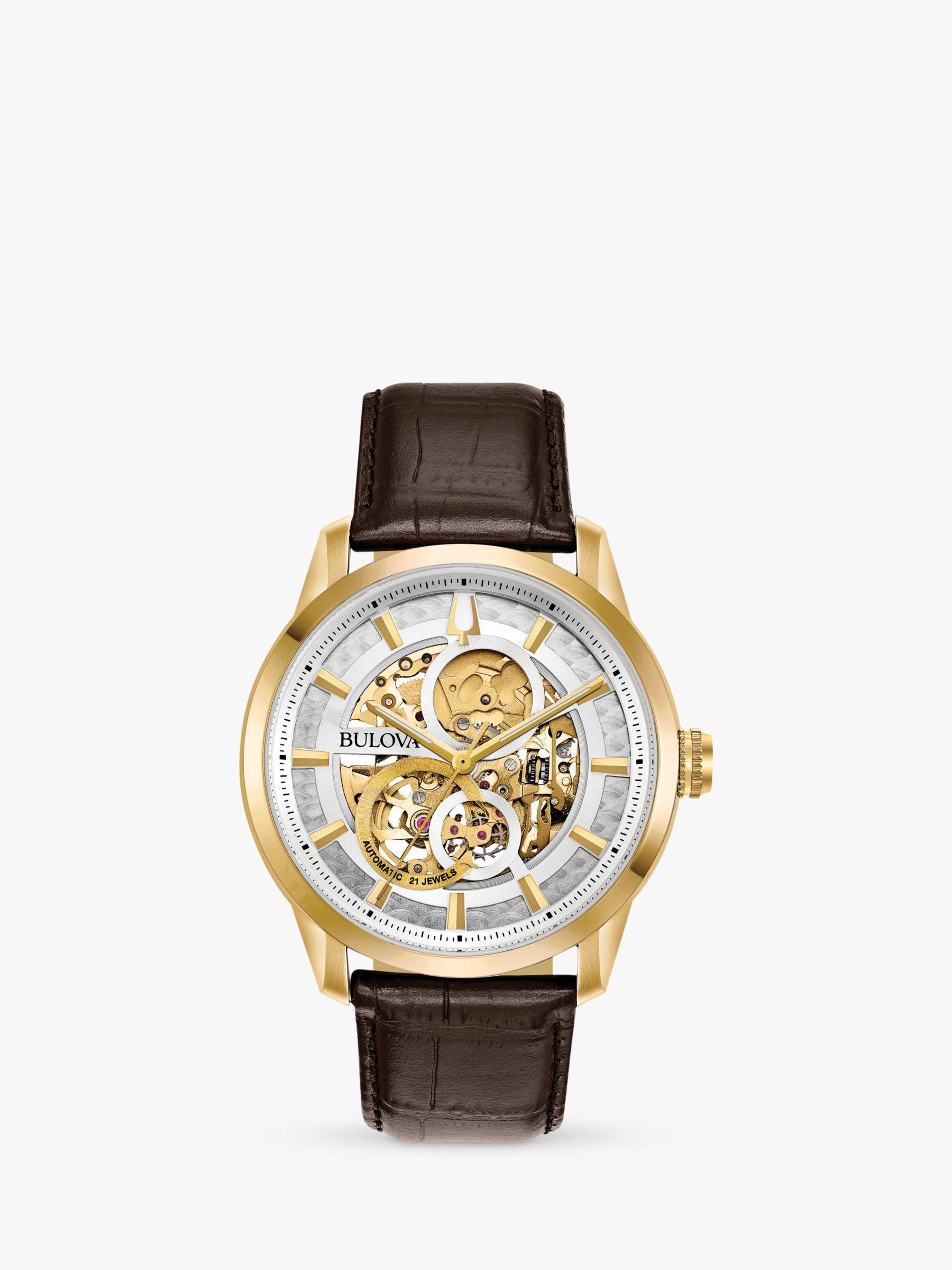 Bulova Bulova 97A138 Men's Sutton Skeleton Automatic Leather Strap Watch, Brown/Silver