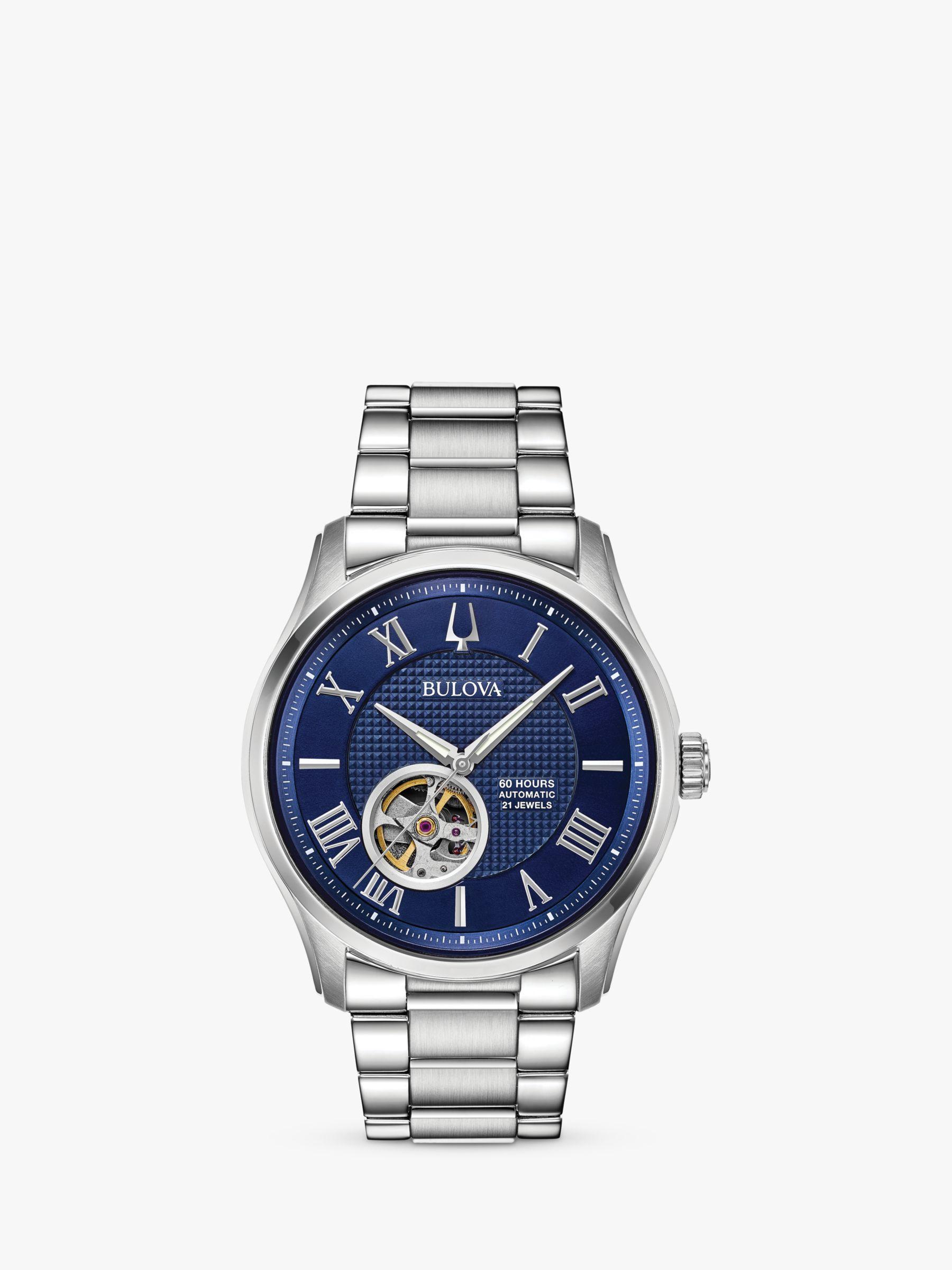 Bulova Bulova 96A218 Men's Wilton Automatic Heartbeat Bracelet Strap Watch, Silver/Blue