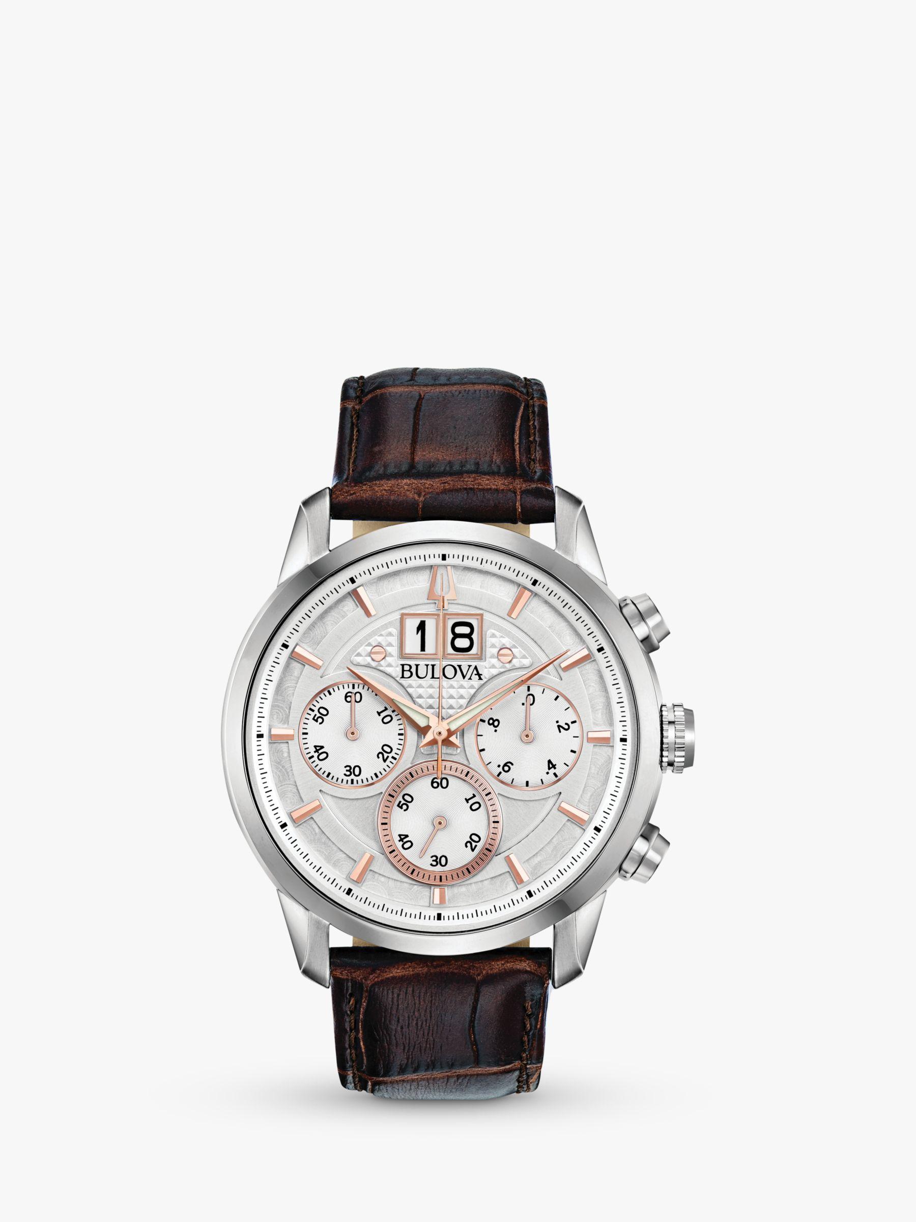 Bulova Bulova 96B309 Men's Sutton Date Chronograph Leather Strap Watch, Brown/Silver