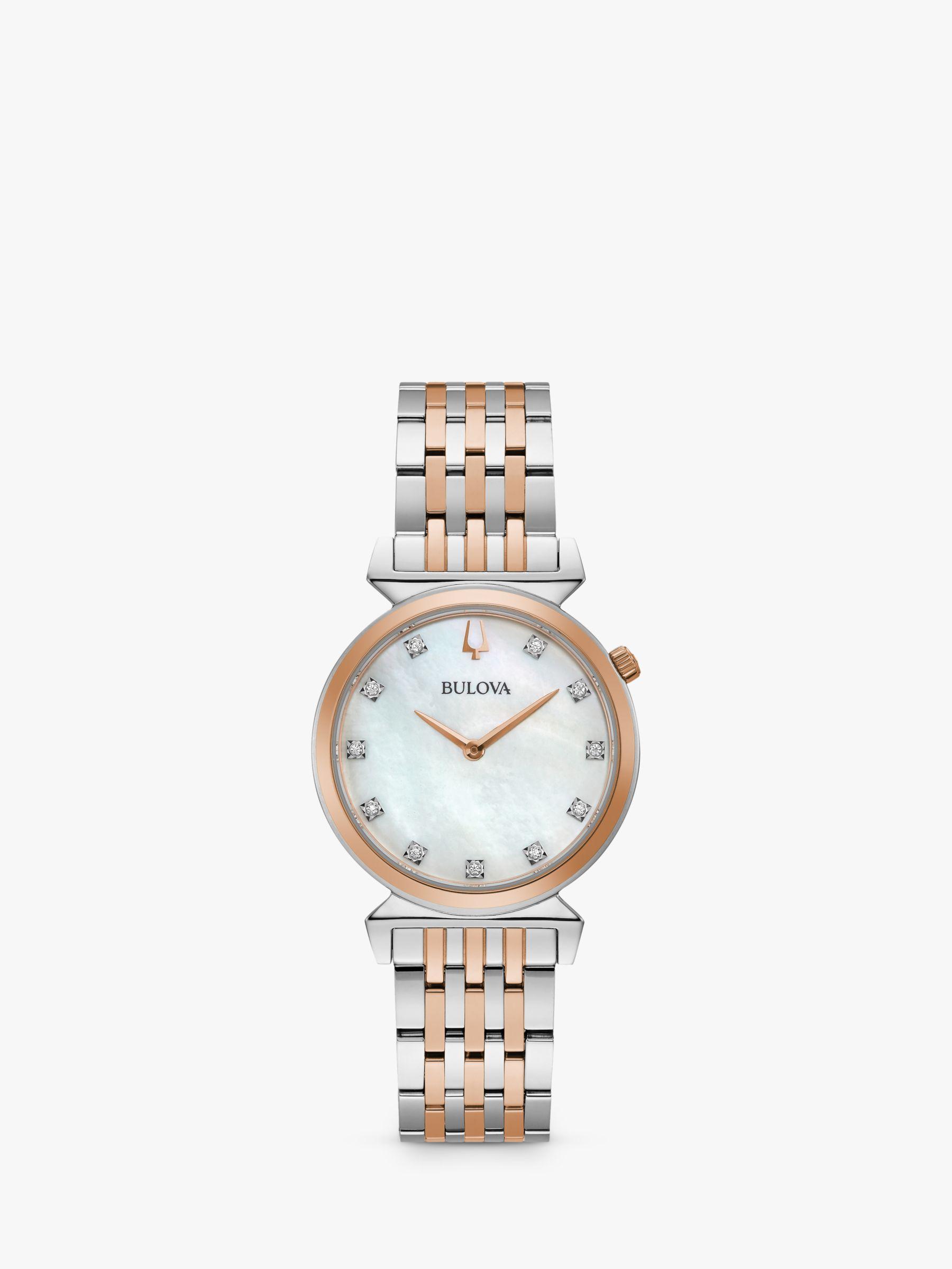 Bulova Bulova 98P192 Women's Regatta Diamond Bracelet Strap Watch, Silver/Rose Gold