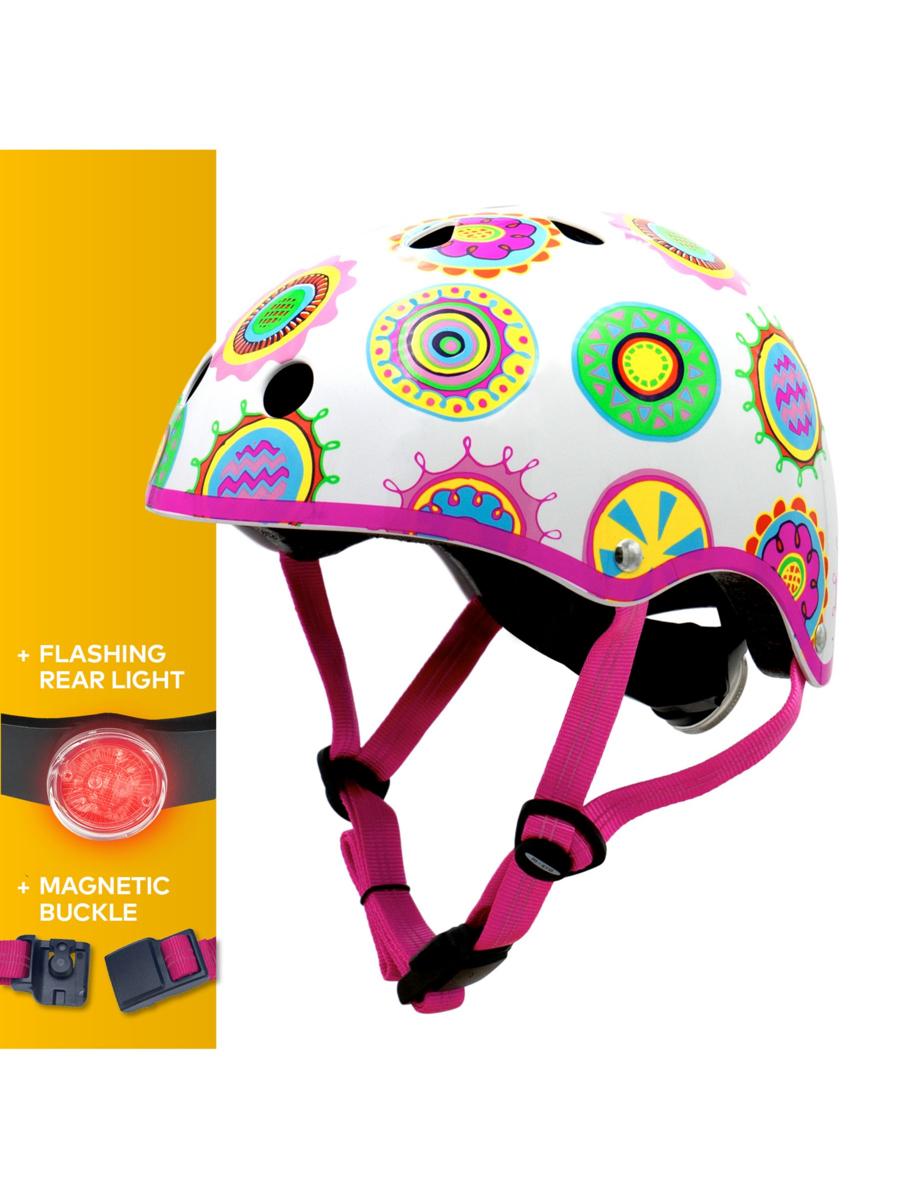 Micro Micro Deluxe Scooter Helmet, Doodle Pattern, Medium