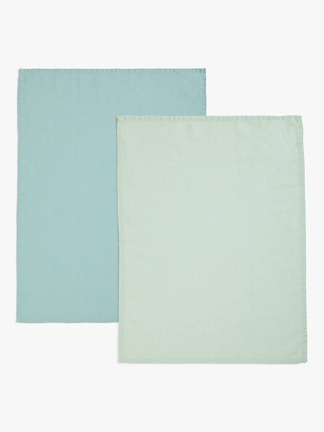Buy John Lewis & Partners Linen Tea Towels, Pack of 2, Blue Online at johnlewis.com