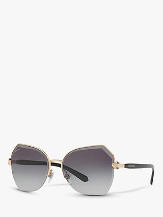 BVLGARI BV6102B Women's Irregular Sunglasses, Gold/Grey Gradient