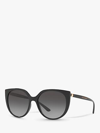 Dolce & Gabbana DG6119 Women's Oval Sunglasses, Matte Black/Grey Gradient