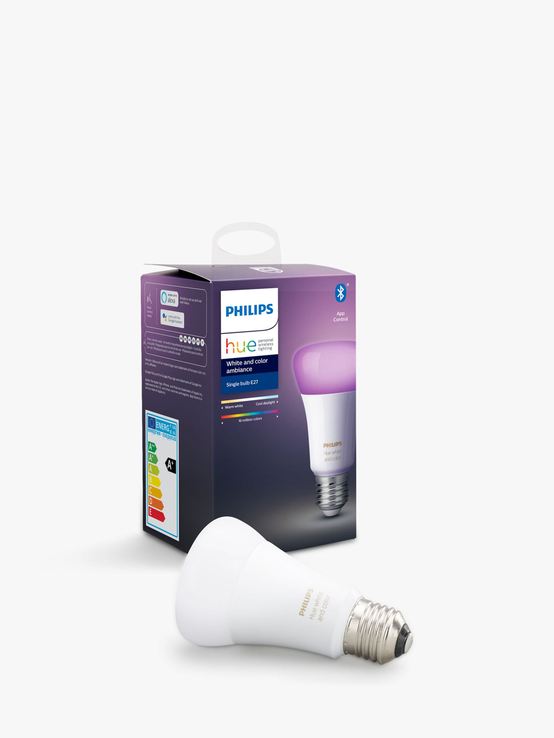 Philips Philips Hue White and Colour Ambiance Wireless Lighting LED Colour Changing Light Bulb with Bluetooth, 9W A60 E27 Edison Screw Cap Bulb, Single