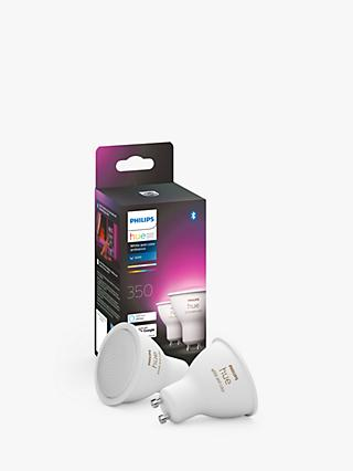 Philips Hue White and Colour Ambiance Wireless Lighting LED Colour Changing Light Bulb with Bluetooth, 5.7W GU10 Bulb, Pack of 2