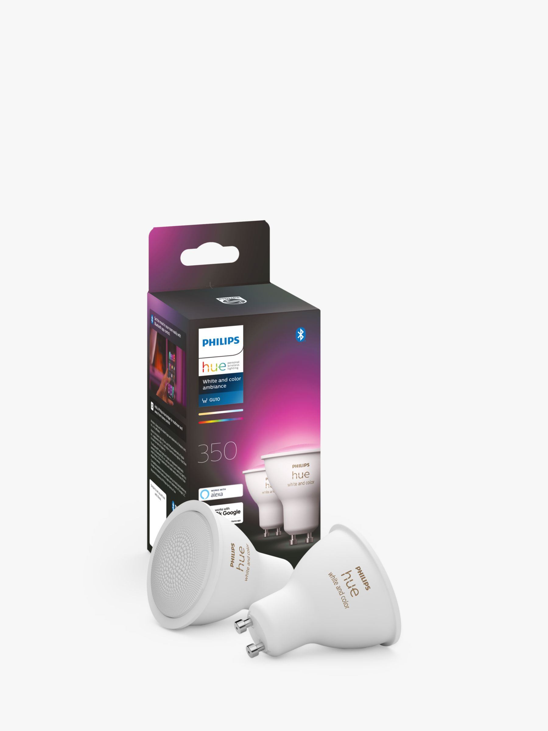 Philips Philips Hue White and Colour Ambiance Wireless Lighting LED Colour Changing Light Bulb with Bluetooth, 5.7W GU10 Bulb, Pack of 2