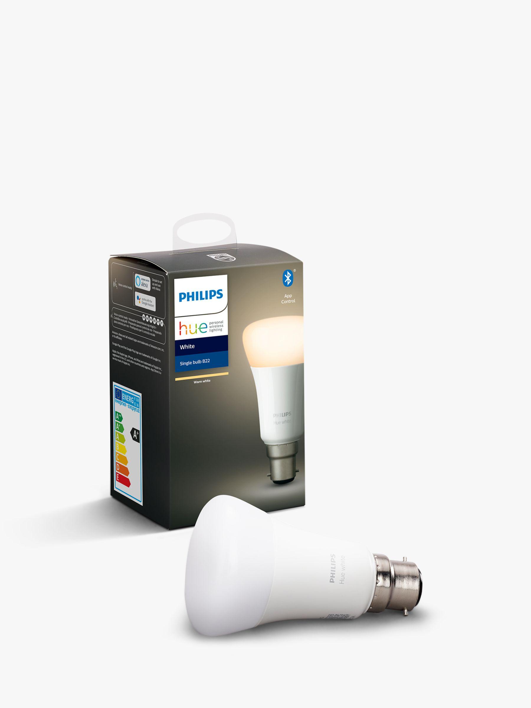 Philips Philips Hue White Wireless Lighting LED Light Bulb with Bluetooth, 9W A60 B22 Bayonet Cap Bulb, Single