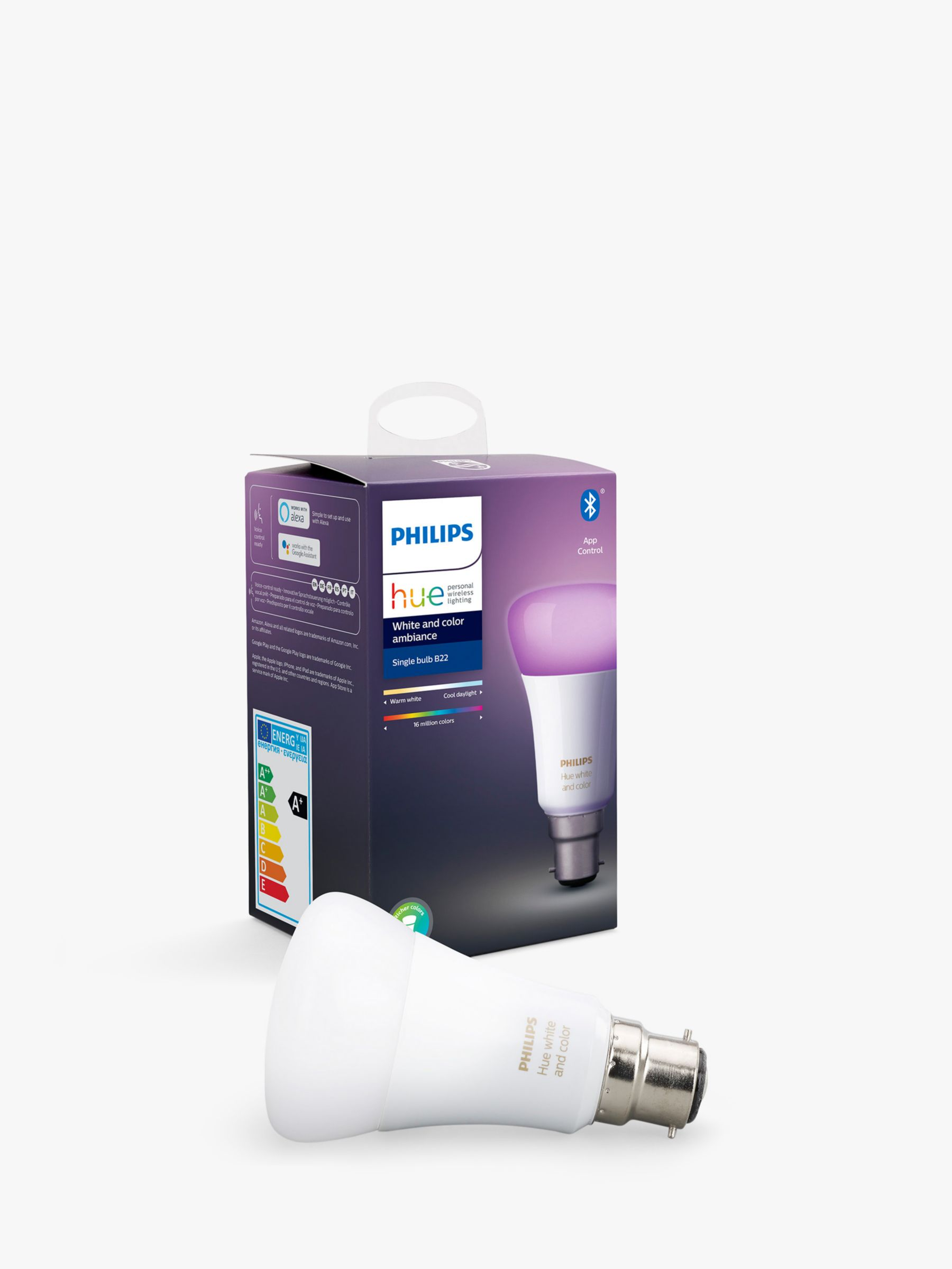 Philips Philips Hue White and Colour Ambiance Wireless Lighting LED Colour Changing Light Bulb with Bluetooth, 9W A60 B22 Bayonet Cap Bulb, Single