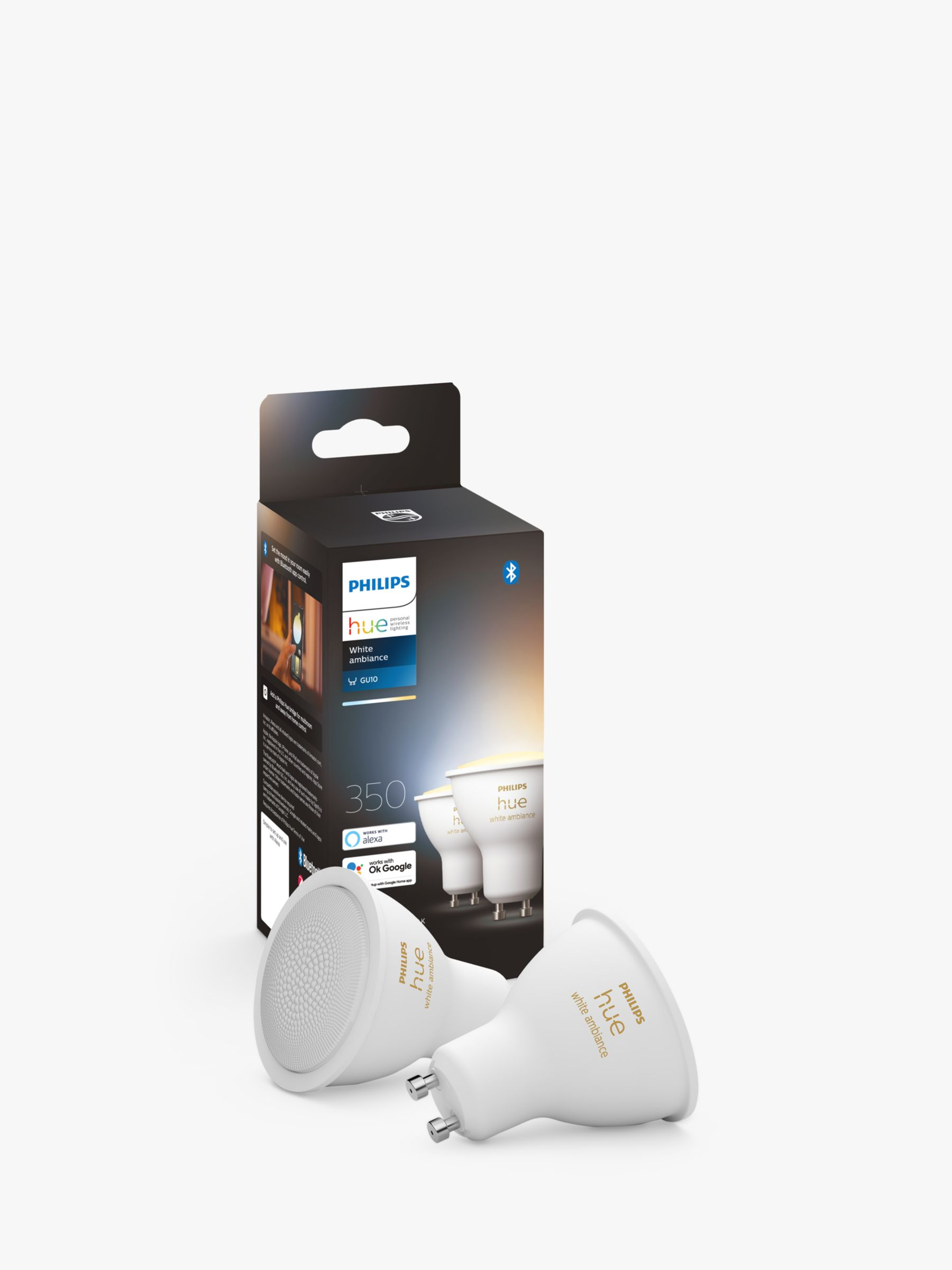 Philips Philips Hue White Ambiance Wireless Lighting LED Light Bulb with Bluetooth, 5W GU10 Bulb, Pack of 2