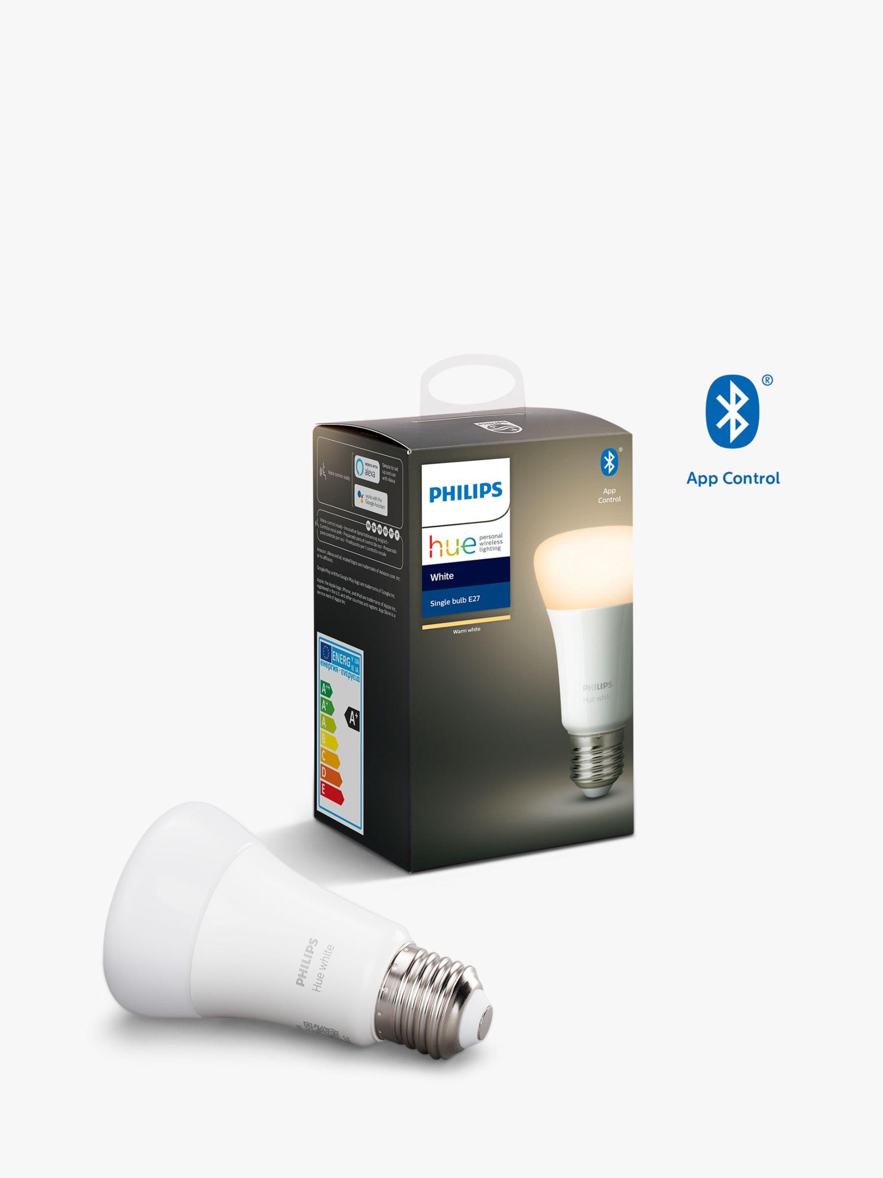 Philips Philips Hue White Wireless Lighting LED Light Bulb with Bluetooth, 9W A60 E27 Edison Screw Cap Bulb, Single