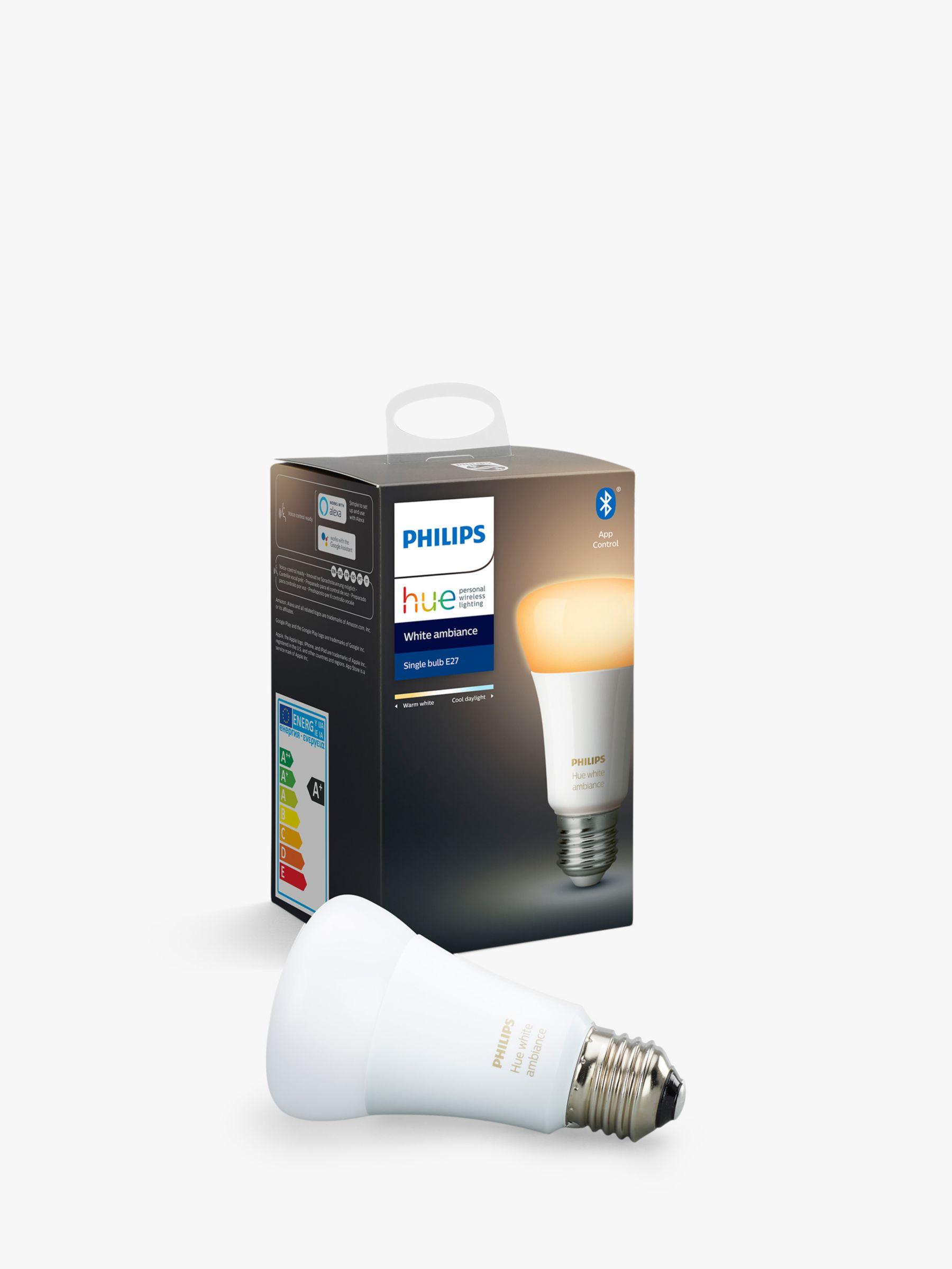 Philips Philips Hue White Ambiance Wireless Lighting LED Light Bulb with Bluetooth, 9W A60 E27 Edison Screw Cap Bulb, Single