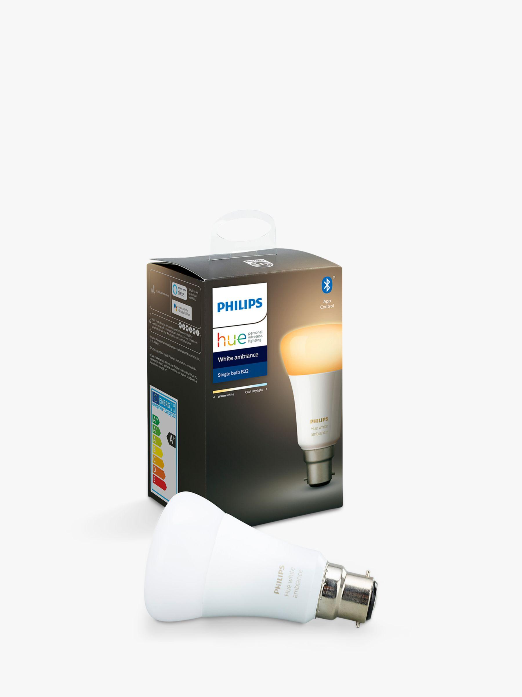 Philips Philips Hue White Ambiance Wireless Lighting LED Light Bulb with Bluetooth, 9W A60 B22 Bayonet Cap Bulb, Single