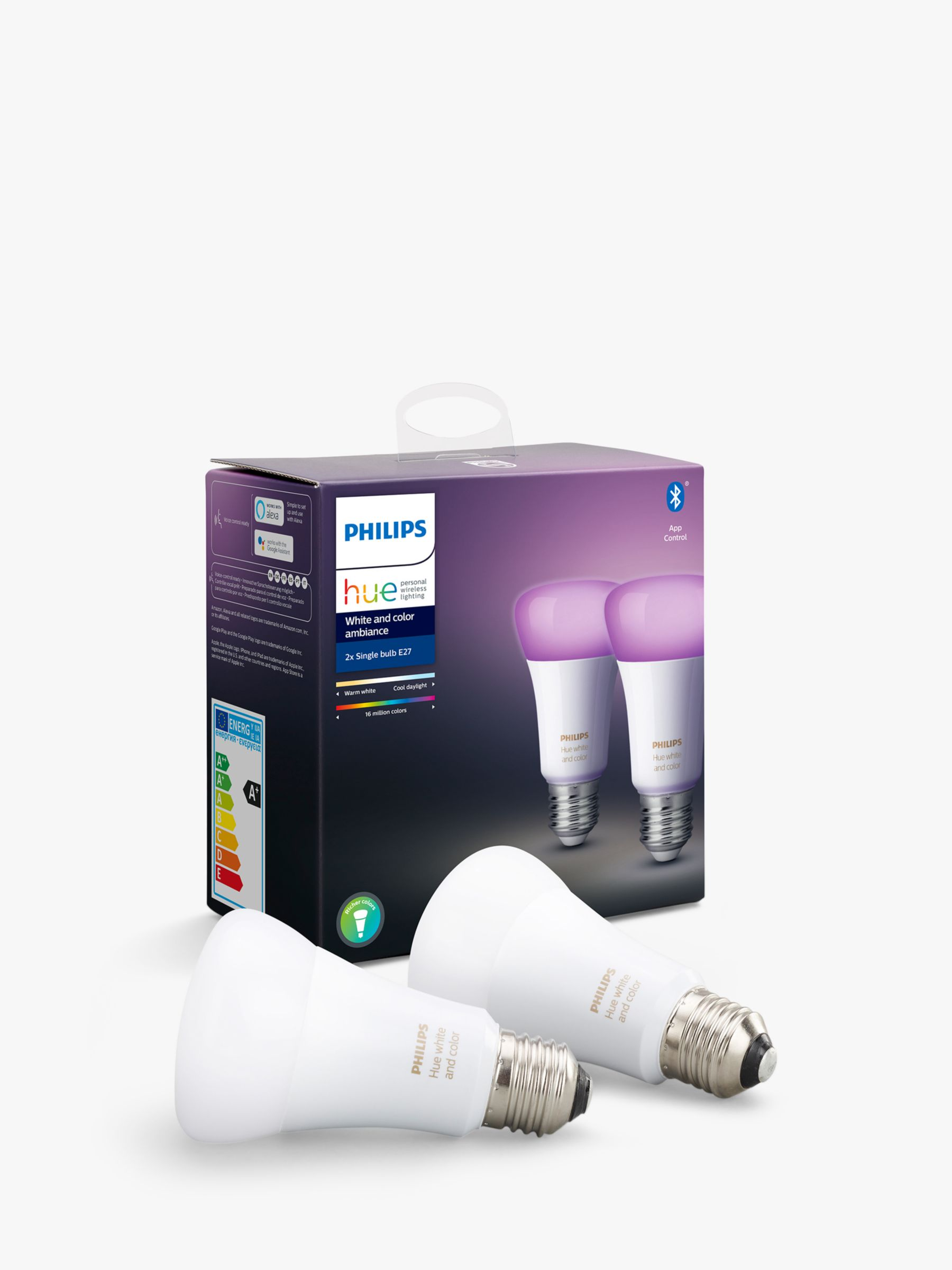 Philips Philips Hue White and Colour Ambiance Wireless Lighting LED Colour Changing Light Bulb with Bluetooth, 9W A60 E27 Edison Screw Cap Bulb, Pack of 2