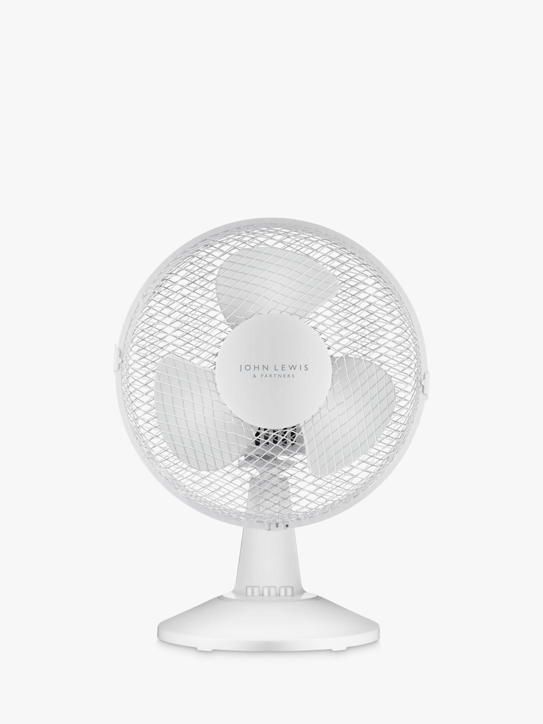 ANYDAY John Lewis & Partners Desk Fan, 9 inch, White