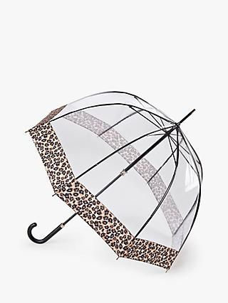 Fulton Natural Leopard Luxe Birdcage Umbrella, Clear/Multi