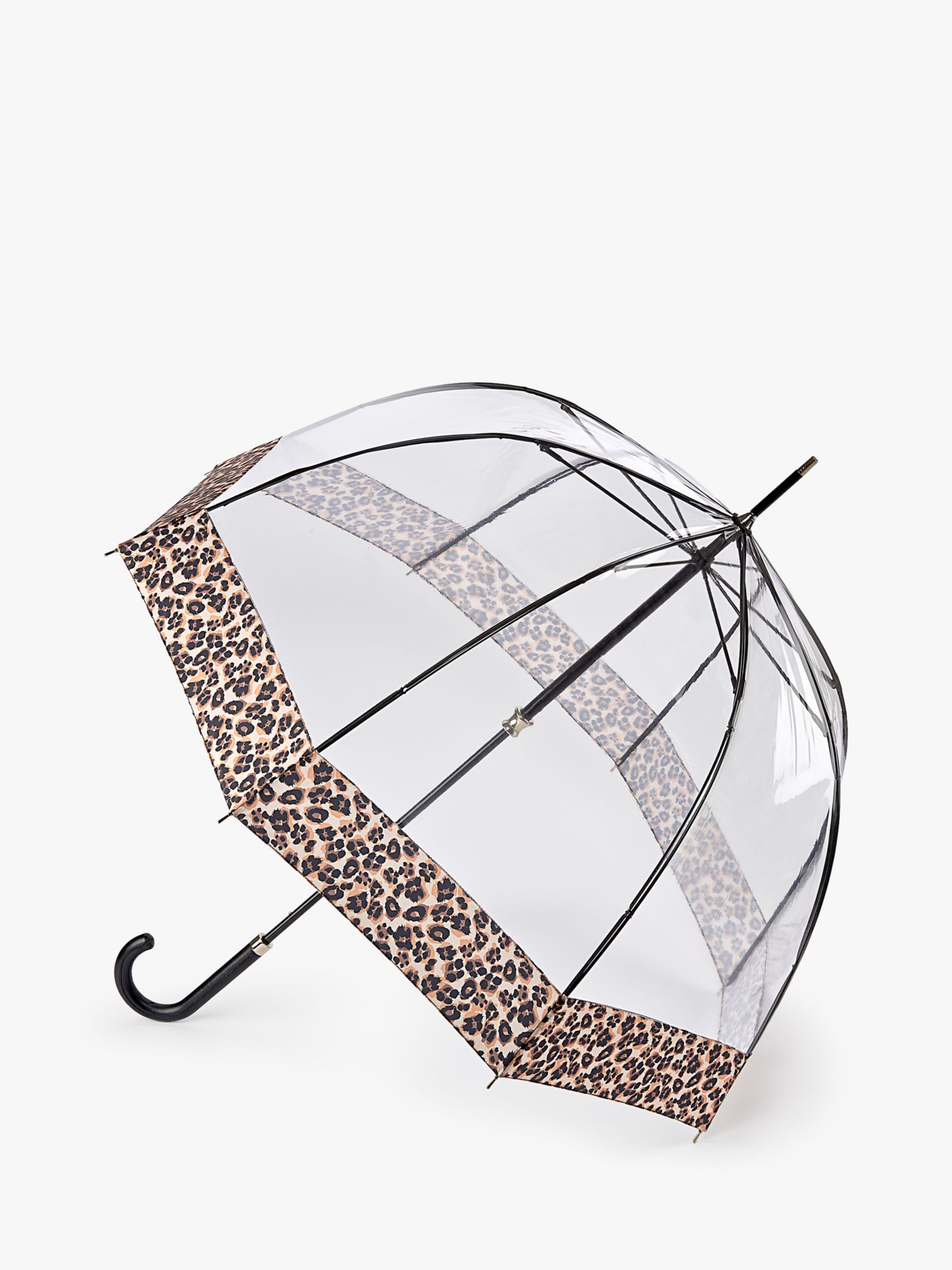 Fulton Fulton Natural Leopard Luxe Birdcage Umbrella, Clear/Multi