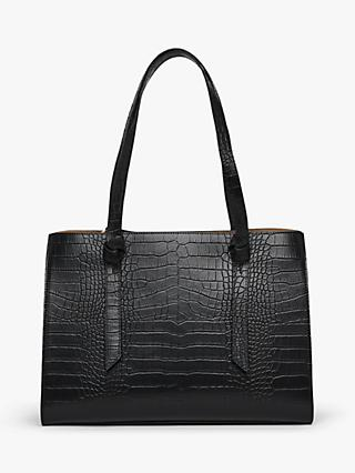 L.K.Bennett Sasha Texture Leather Tote Bag, Black