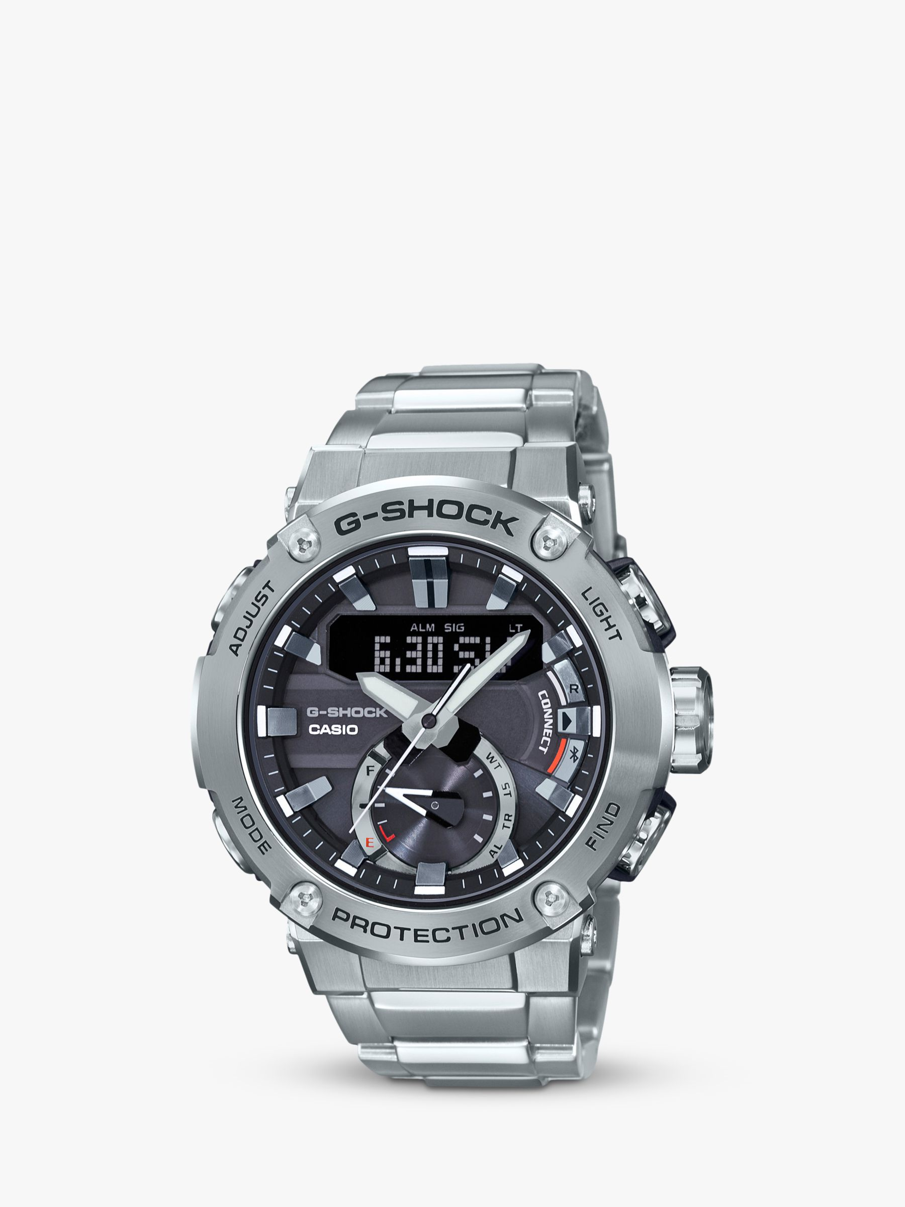 Casio Casio GST-B200D-1AER Men's G-Shock Bluetooth Bracelet Strap Watch, Silver/Black