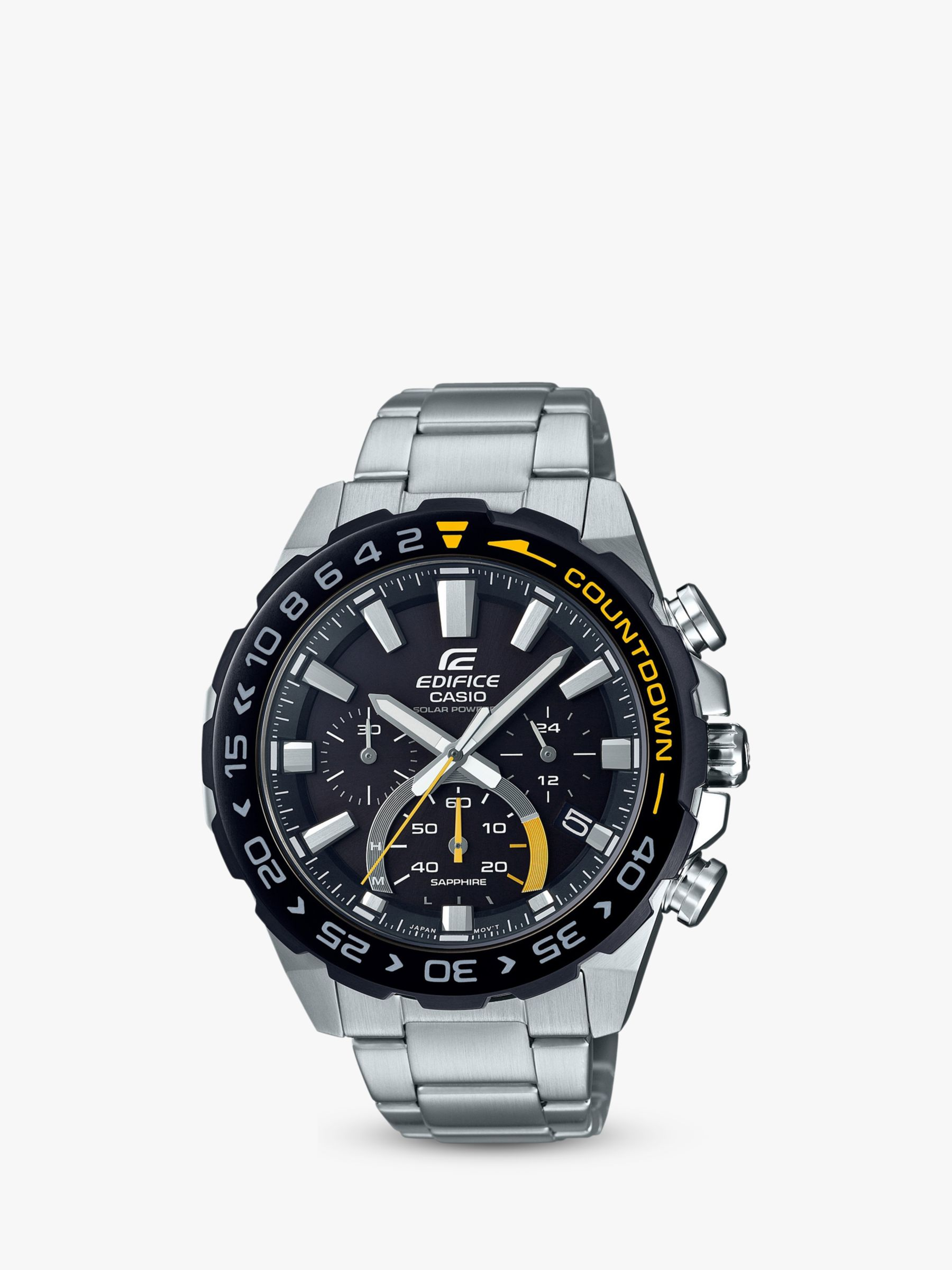 Casio Casio EFS-S550DB-1AVUEF Men's Edifice Solar Chronograph Date Bracelet Strap Watch, Silver/Black