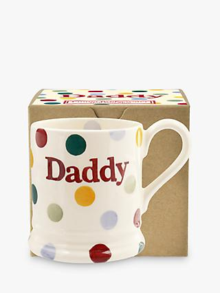 Emma Bridgewater Polka Dot 'Daddy' Half Pint Mug, 280ml, White/Multi