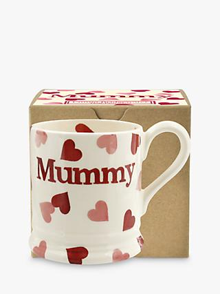 Emma Bridgewater Pink Hearts 'Mummy' Half Pint Mug, Pink/Multi, 280ml
