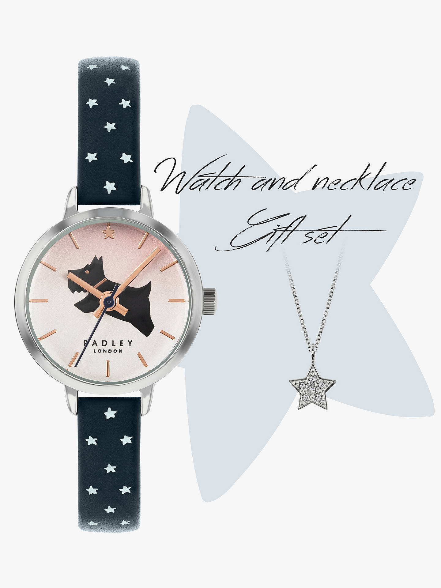 Buy Radley RY2909A Women's Star Leather Strap Watch and Pendant Necklace Gift Set, Navy/Multi Online at johnlewis.com
