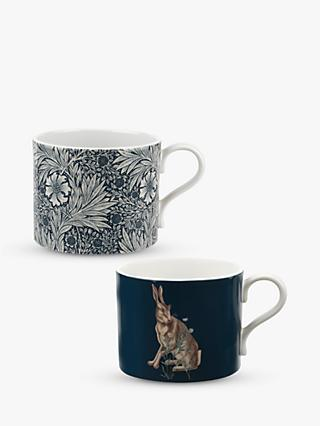 Morris & Co. Marigolds/Hare Mugs, Set of 2, 340ml, Multi