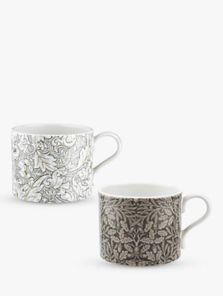 Morris & Co. Bachelor's Button/Acorn Mugs, Set of 2, 340ml, Grey/Multi