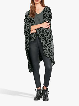 hush Lena Leopard Print Shawl, Grey/Black