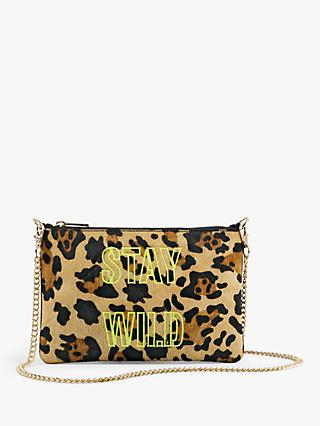 hush Mimi Stay Wild Leopard Print Leather Clutch Bag, Multi