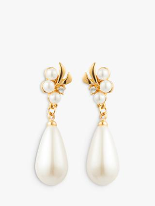 Susan Caplan Vintage Gold Plated Faux Pearl and Swarovski Crystal Flower Drop Earrings, Gold