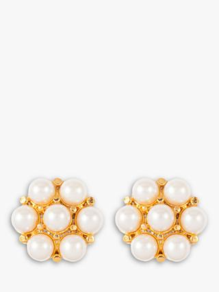 Susan Caplan Vintage 22ct Gold Plated Faux Pearl and Swarovski Crystal Flower Clip-On Earrings, Gold