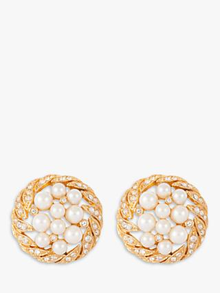 Susan Caplan Vintage 22ct Gold Plated Faux Pearl and Swarovski Crystal Round Clip-On Earrings, Gold