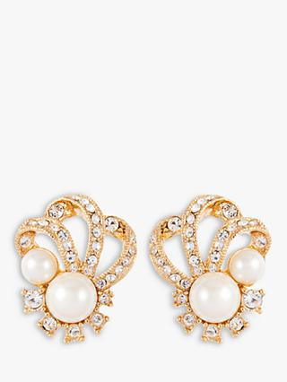 Susan Caplan Vintage 22ct Gold Plated Faux Pearl and Swarovski Crystal Clip-On Earrings, Gold