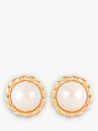 Susan Caplan Vintage D'Orlan 22ct Gold Plated Faux Pearl Stud Earrings, Gold