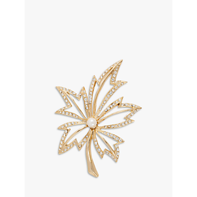 Susan Caplan Vintage Napier Gold Plated Faux Pearl and Swarovski Crystal Leaf Brooch, Gold