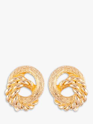 Susan Caplan Vintage Christian Dior Gold Plated Clip-On Double Circle Drop Earrings, Gold