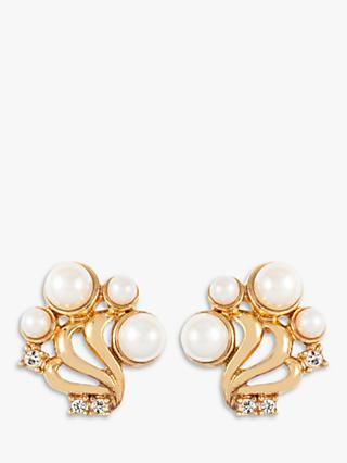 Susan Caplan Vintage 22ct Gold Plated Faux Pearl and Swarovski Crystal Clip-On Stud Earrings, Gold