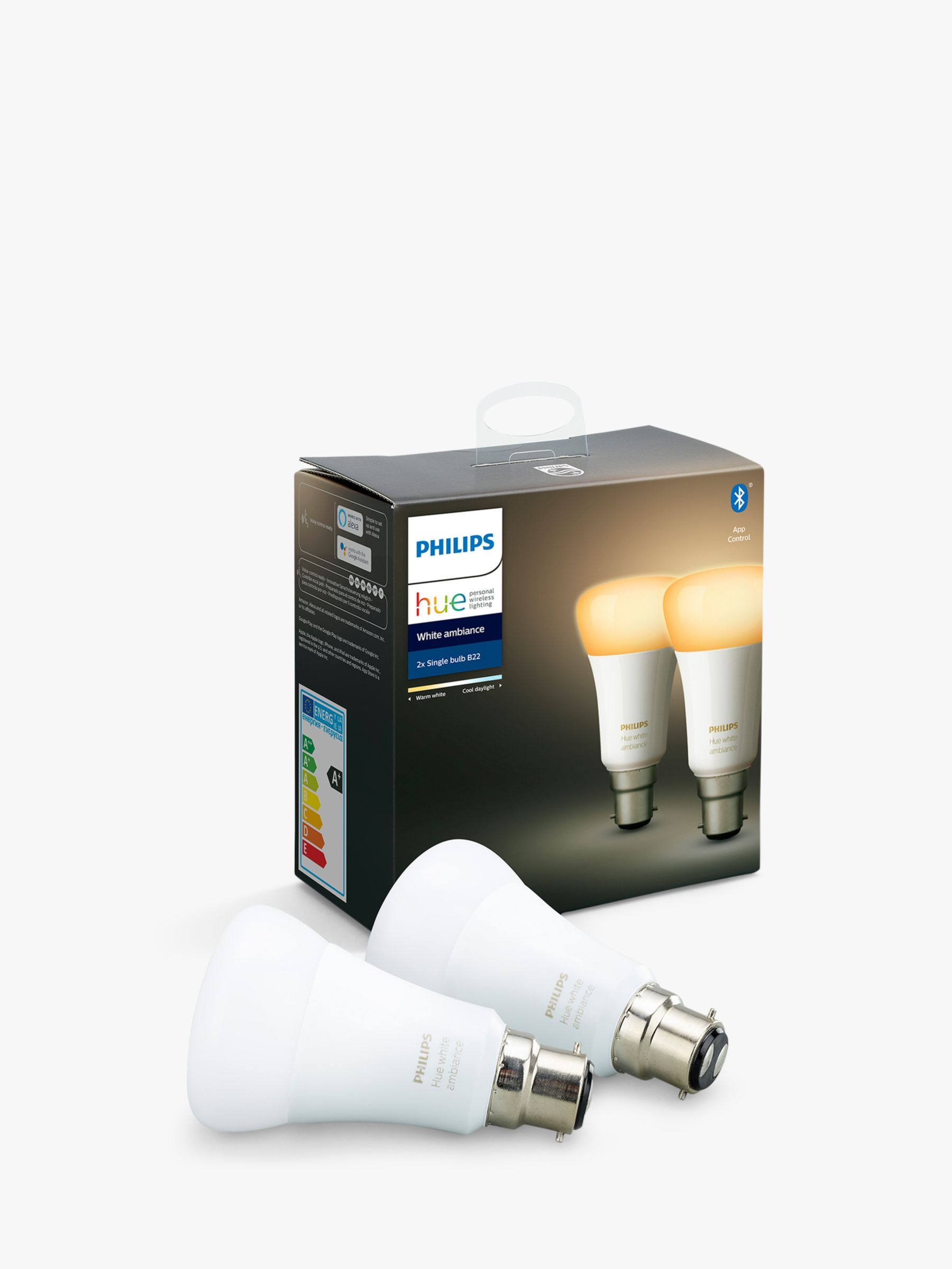 Philips Philips Hue White Ambiance Wireless Lighting LED Light Bulb with Bluetooth, 9W A60 B22 Bayonet Cap Bulb, Pack of 2