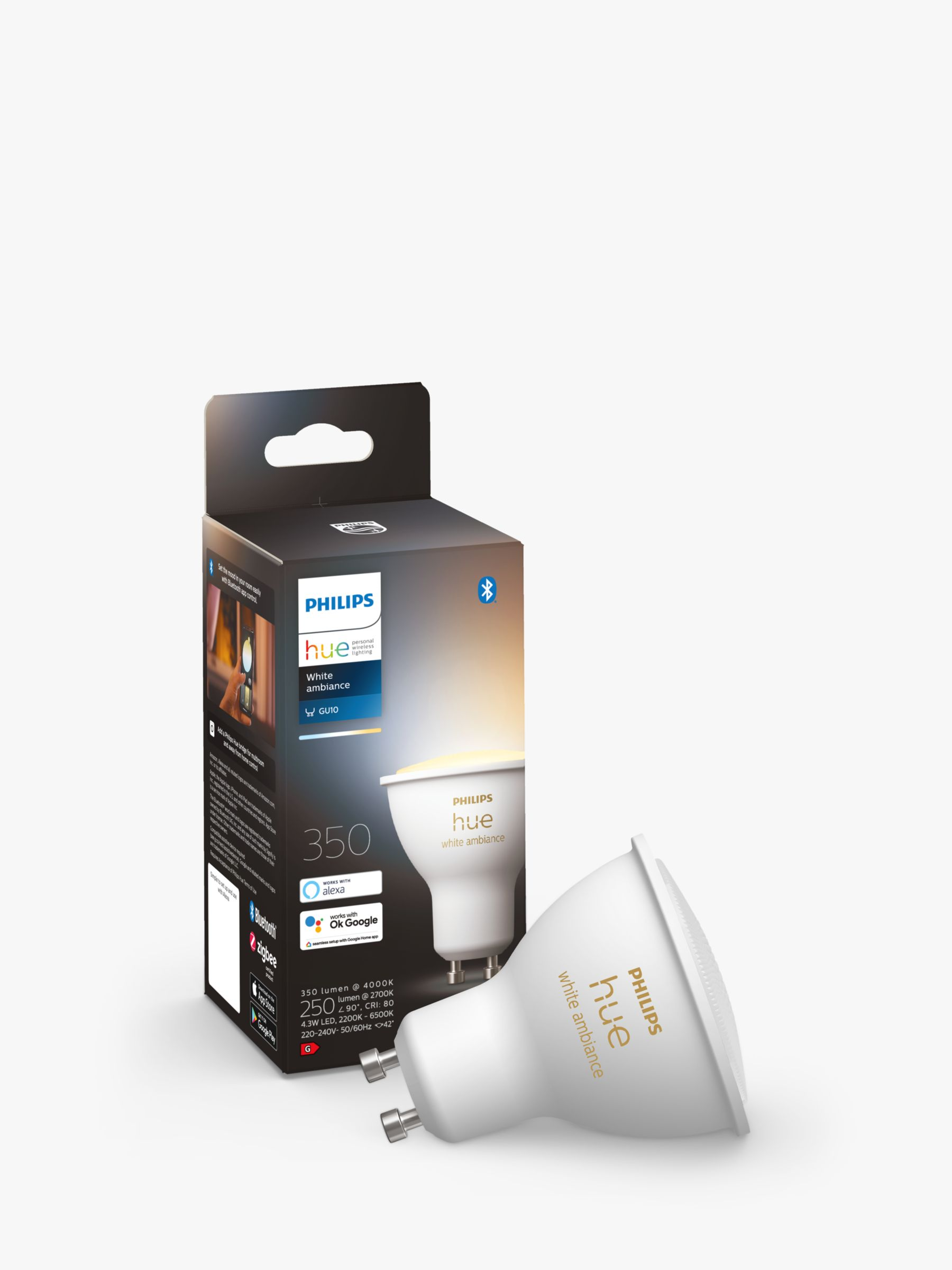 Philips Philips Hue White Ambiance Wireless Lighting LED Light Bulb with Bluetooth, 5W GU10 Bulb, Single