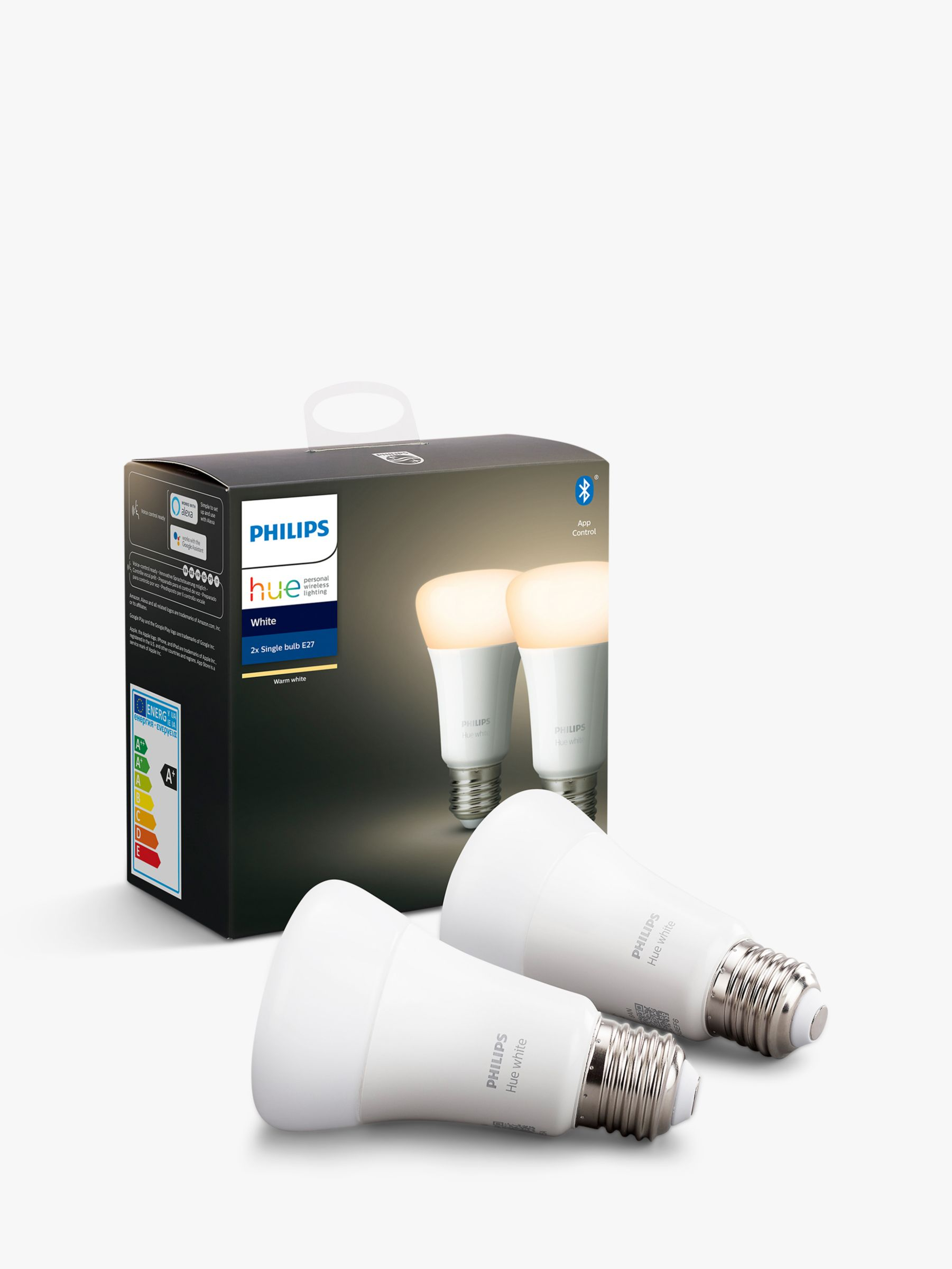 Philips Philips Hue White Wireless Lighting LED Light Bulb with Bluetooth, 9W A60 E27 Edison Screw Cap Bulb, Pack of 2